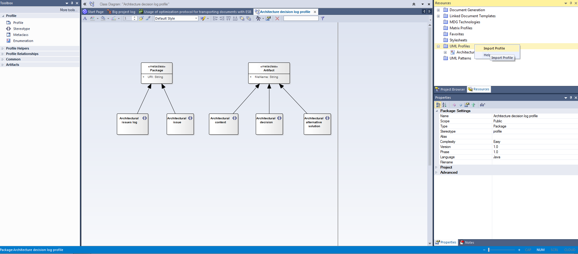 Custom UML profile