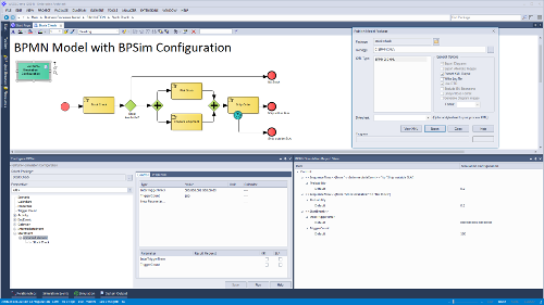 bpmn model with bpsim configuration