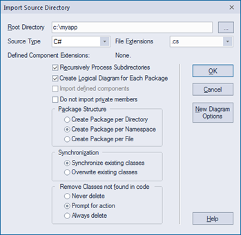 sparx enterprise architect import source directory