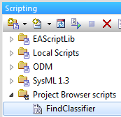 sparx enterprise architect project browser script findclassifier