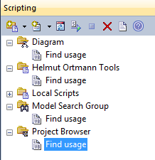The Scripting View with the Scripts Groups and the Scripts (Copy+Paste)
