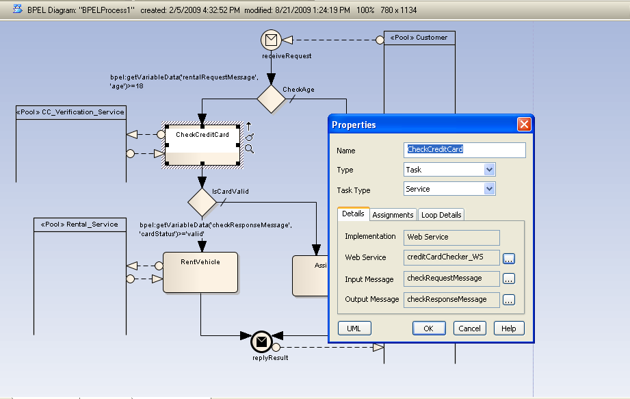 Mapping BPMN to BPEL for interfacing to the creditCardChecker web service